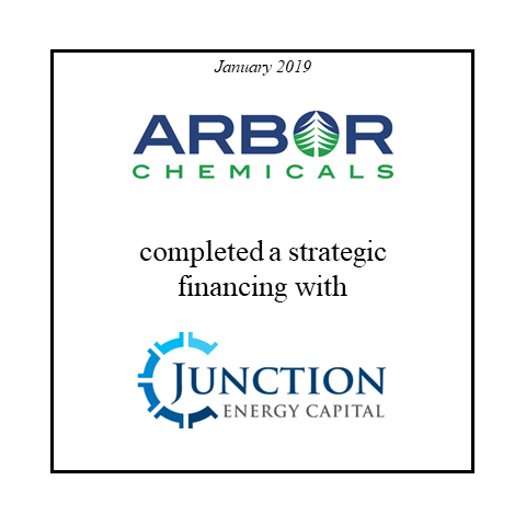 Arbor Chemicals strategic financing with Junction Energy Capital