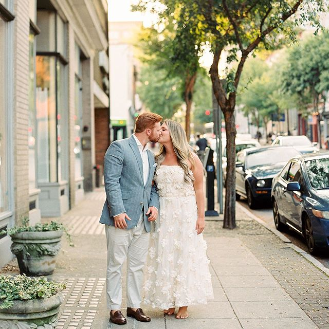 Summer means date nights downtown and evening strolls, sometimes bare feet. I love this shot of some of my sweet friends at their rehearsal dinner!