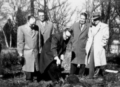 Ground Breaking - Founding members of Brook Hollow Baptist breaking ground on the current worship center in 1955