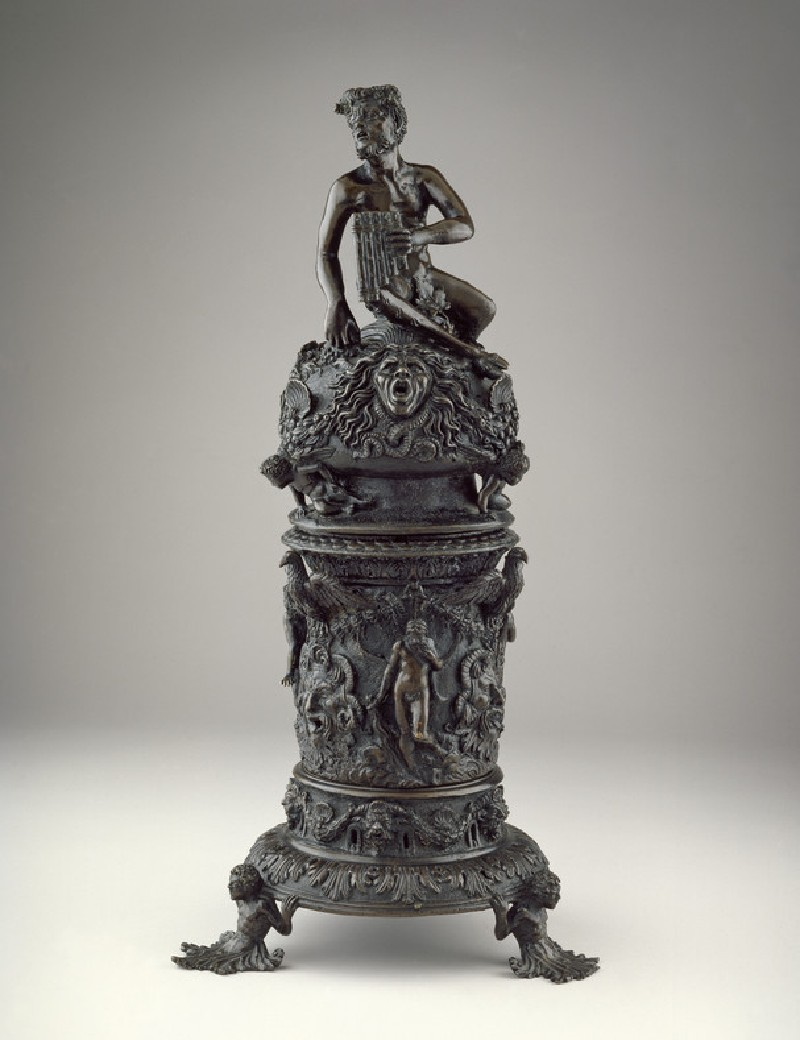 Perfume burner. Probably made by Desiderio da Firenze (active 1532–1545). Padua, c. 1540–1550. Bronze, with traces of gilding. The Ashmolean Museum, Purchased (France, Madan, Russell, Bouch and Miller Funds) with the aid of the National Heritage Memorial Fund, the Art Fund (with a contribution from the Wolfson Foundation), the Friends of the Ashmolean, the Elias Ashmolean Group, Mr Phillip Wagner, and other private benefactors, 2004 [WA2004.1]