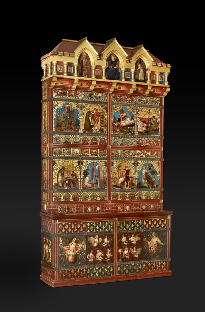Great bookcase. Made by Henry Stacy Marks (1829–1898), Thomas Pritchard Rossiter (1818–1871), Sir Edward John Poynter (1836–1919), Henry Holiday (1839–1927), William Holman Hunt (1827–1910), Dante Gabriel Rossetti (1828–1882), William Frederick Yeames (1835–1918), Albert Joseph Moore (1841–1893), Thomas Morten (1836–1866), Simeon Solomon (1840–1905), Edward Coley Burne-Jones (1833–1898). London, 1856–1862. Carved, painted and gilded furniture. The Ashmolean Museum, Purchased, 1933 [WA1933.26]