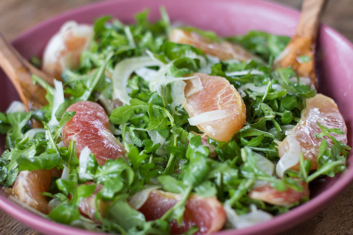 Early Spring Salad with Grapefruit and Ginger Vinaigrette