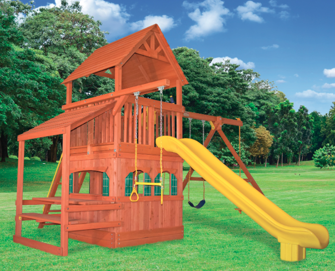 5.5 Bengal Fort Config. 2 w/ Wood Roof, Playhouse Panels, Snack Bar & Scoop Slide
