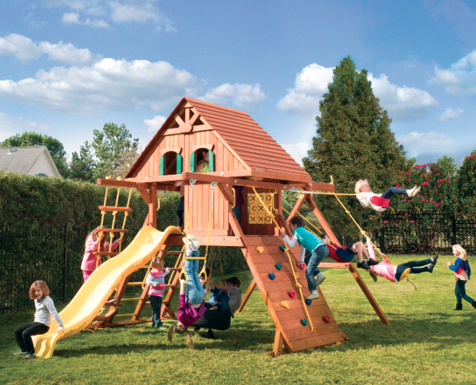 Parrot Island Playcenter w/ Wood Roof & Treehouse Panels