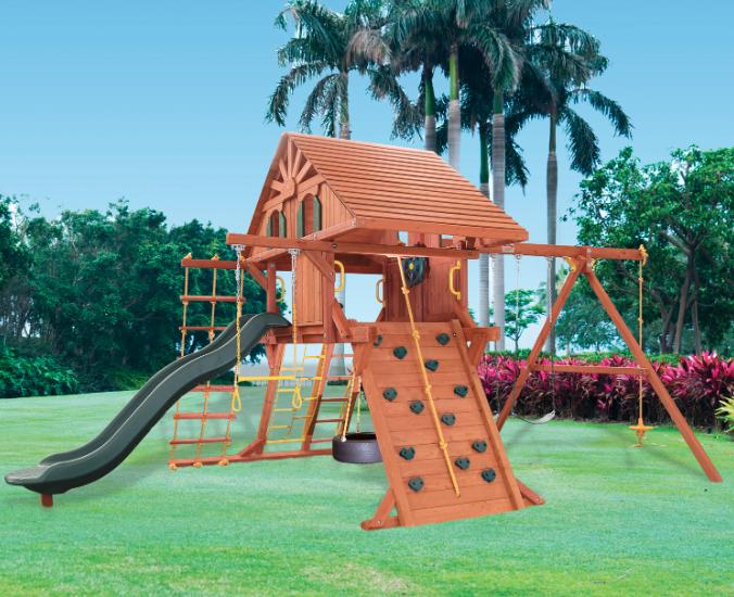 5.5 Jaguar Playcenter Config. 2 w/ Wood Roof, Treehouse Panels & Wacky Wave Slide