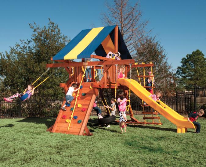 5.5 Jaguar Playcenter Small Backyard w/ Tarp & Scoop Slide
