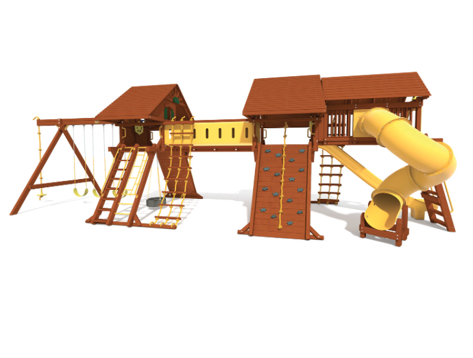 7.4 Fuzion Config. 5 w/ Wood Roof, Extended Monkey Bar/Loft, Deluxe Spiral & Crawl Tunnel