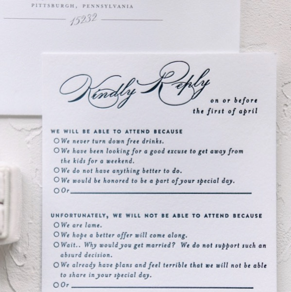 - blushpaperco Calligraphy Meets Comedy #rsvprealness 😂💌💍Tap the link in the profile to see all of Amy and Mark's custom invitation suite.