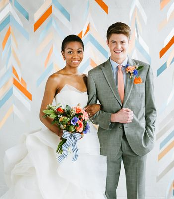 Herringbone Mobile Backdrop - Twist and turn the night away alongside this dynamic #DIY backdrop.* commissioned for Martha Stewart Weddings *(image: Jeff Loves Jessica)