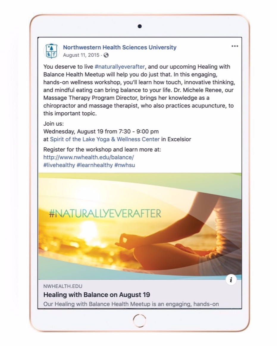 You deserve to live naturally ever after… - FACEBOOK POST ABOUT HEALTH AND HEALING WORKSHOPS FOR NORTHWESTER HEALTH SCIENCES UNIVERSITYVISIT THE WEBSITE FOR MORE COPY