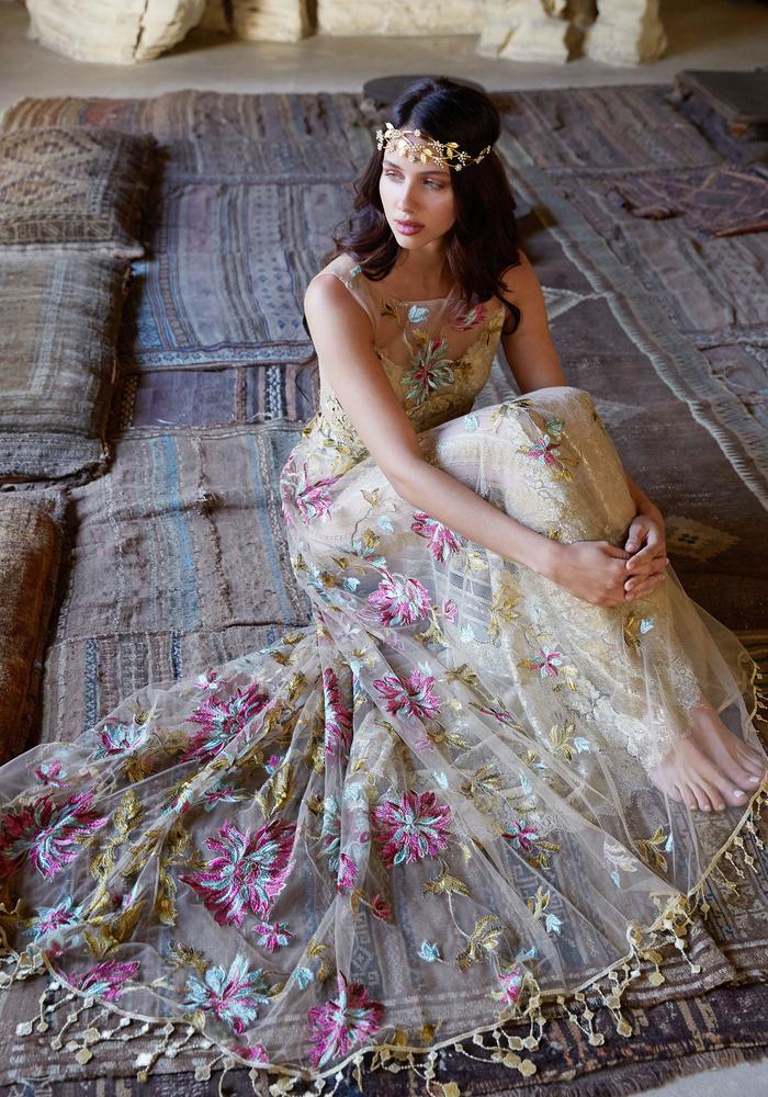 Colorful wedding dress by Claire Pettibone at The Bridal Studio in Salt Lake City Utah
