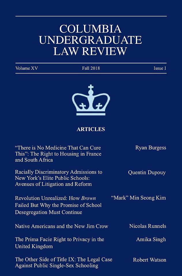 Volume XV, Issue I: Fall 2018