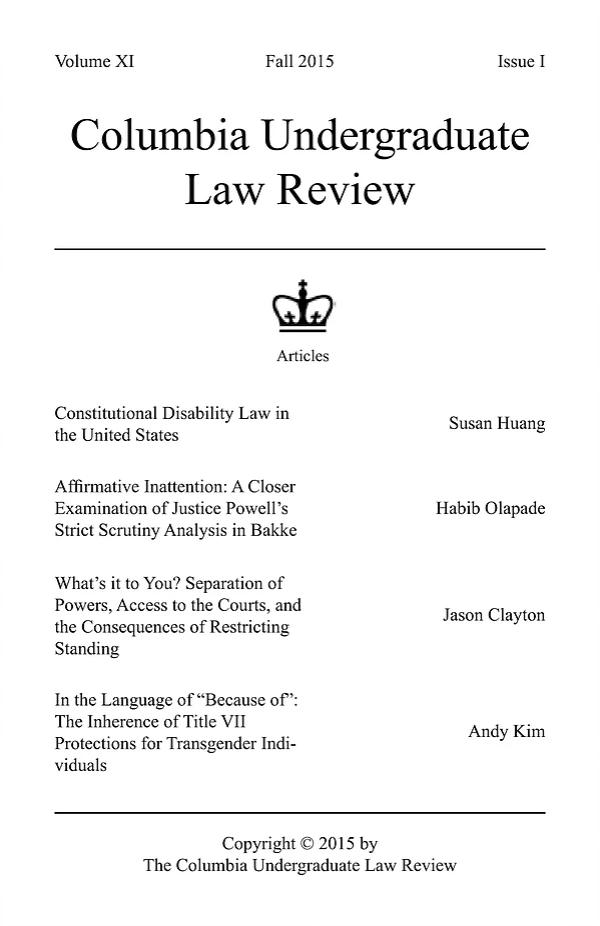 Volume XI, Issue I: Fall 2015