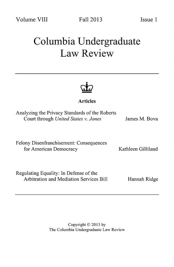 Volume VIII, Issue I: Fall 2013