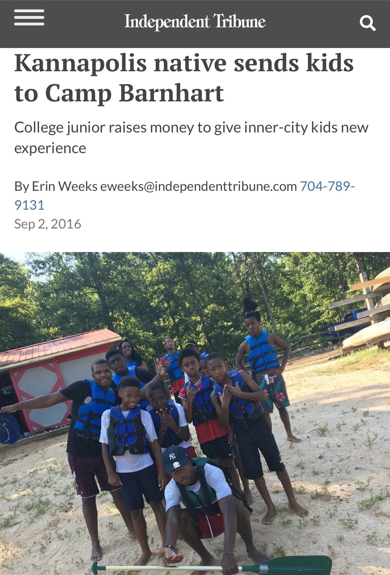 Kannapolis native sends kids to camp 2016 - l