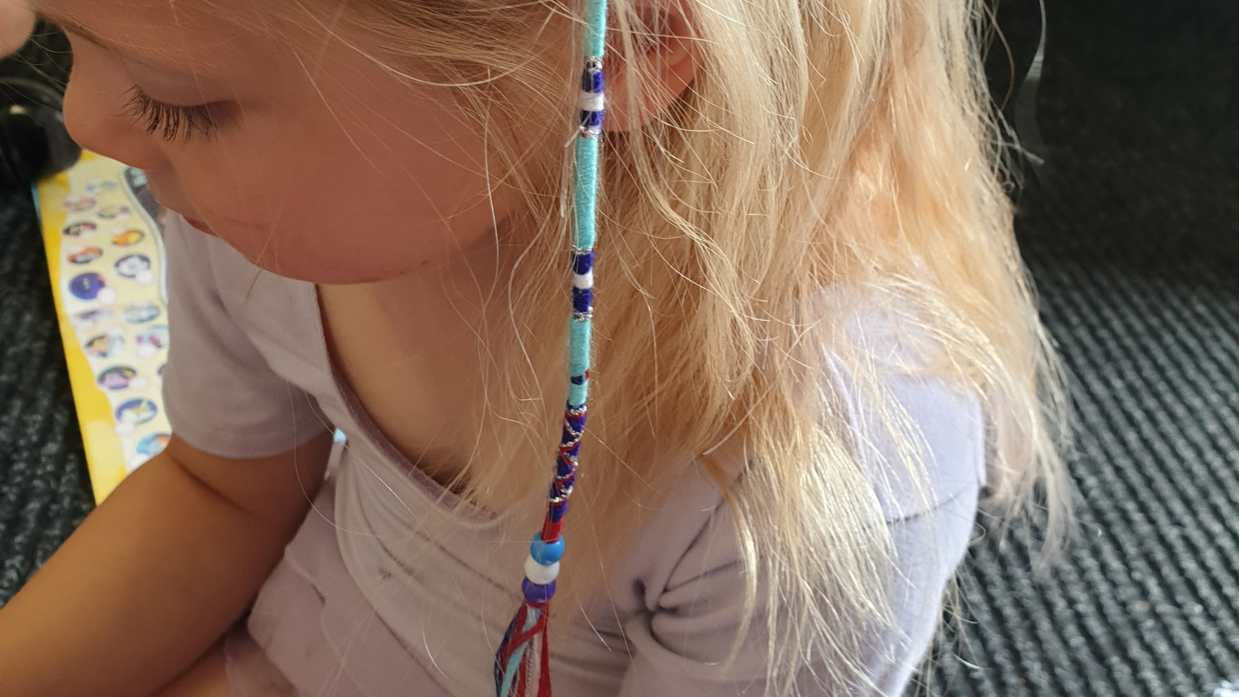 Samantha Corbin - Workshop - I will be adding colourful beaded or feather braids into the children's hair as an extension. This will be charged at £5 per braid.If children don't like or want braids there will be the option for coloured hair chalk. This will be charged at £1 per child.I will also be selling friendship bracelets and create your own bracelets. This varies in prices.