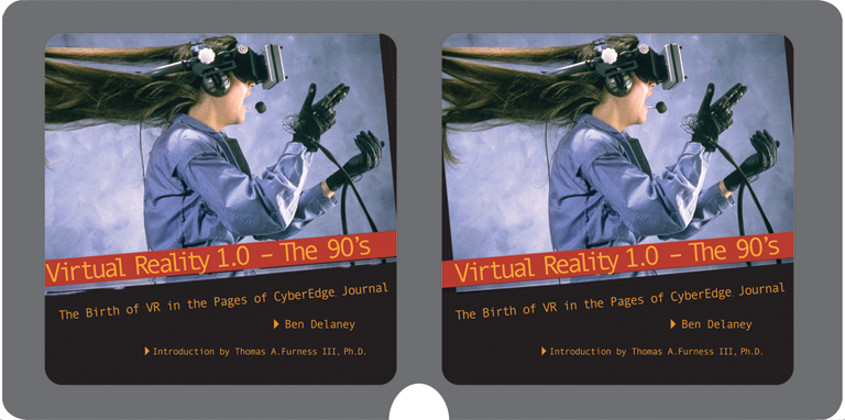 Relax your eyes and let them slightly cross to see the cover of  Virtual Reality 1.0 – the 90's  in stereo