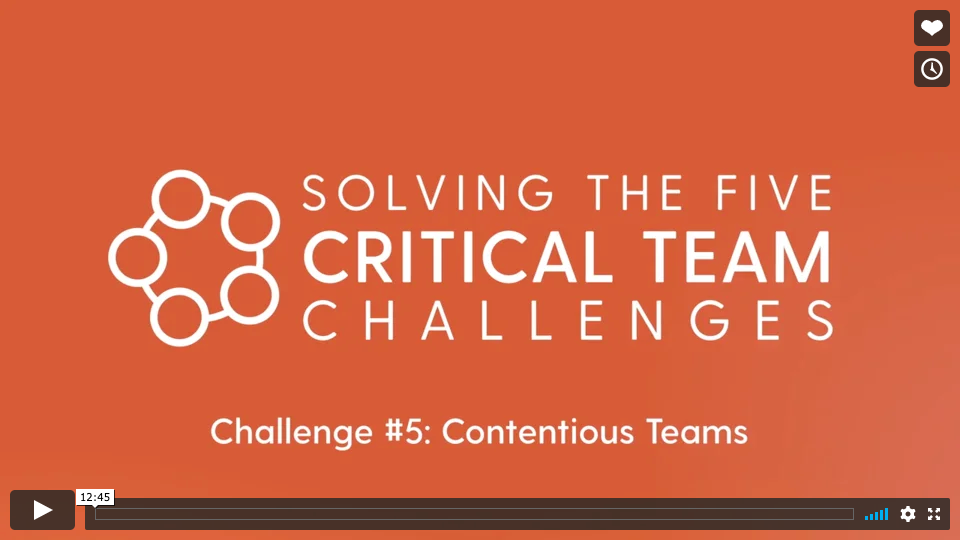 Challenge #5: Contentious Teams  What is the impact of a Contentious Team in your organization? What are the characteristics of Contentious Teams? How do we move a contentious team to a High Potential Team?