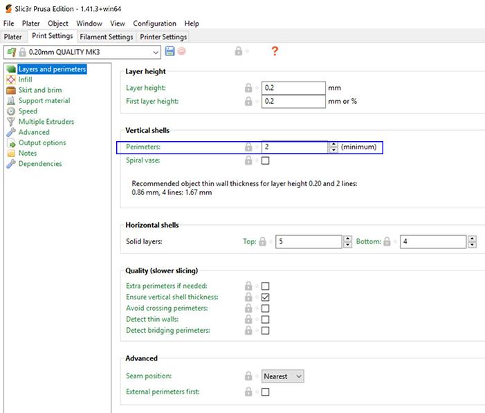 Slic3r infill outline perimeter parameters