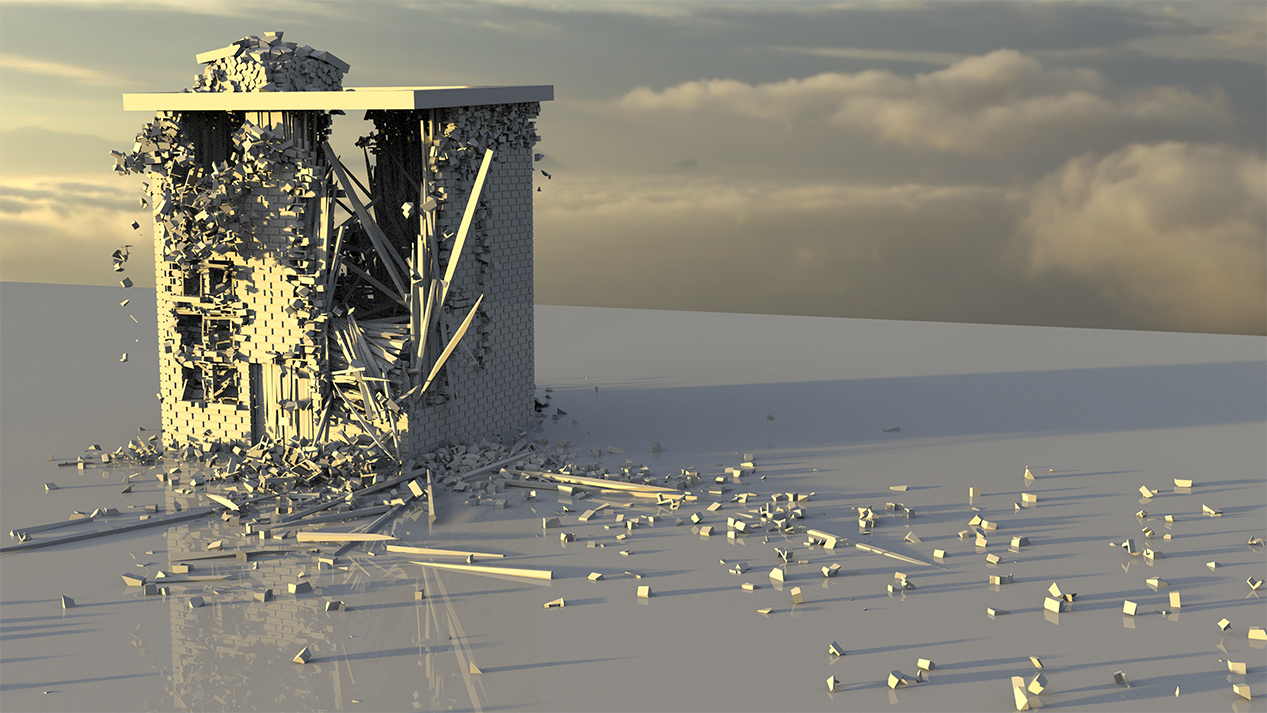 Architectural Destruction (Simulated in Houdini)