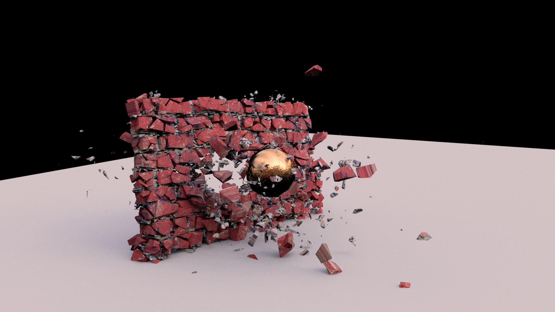 Old fashion Brick Wall Destruction (Created in Houdini and rendered in Blender Cycles)