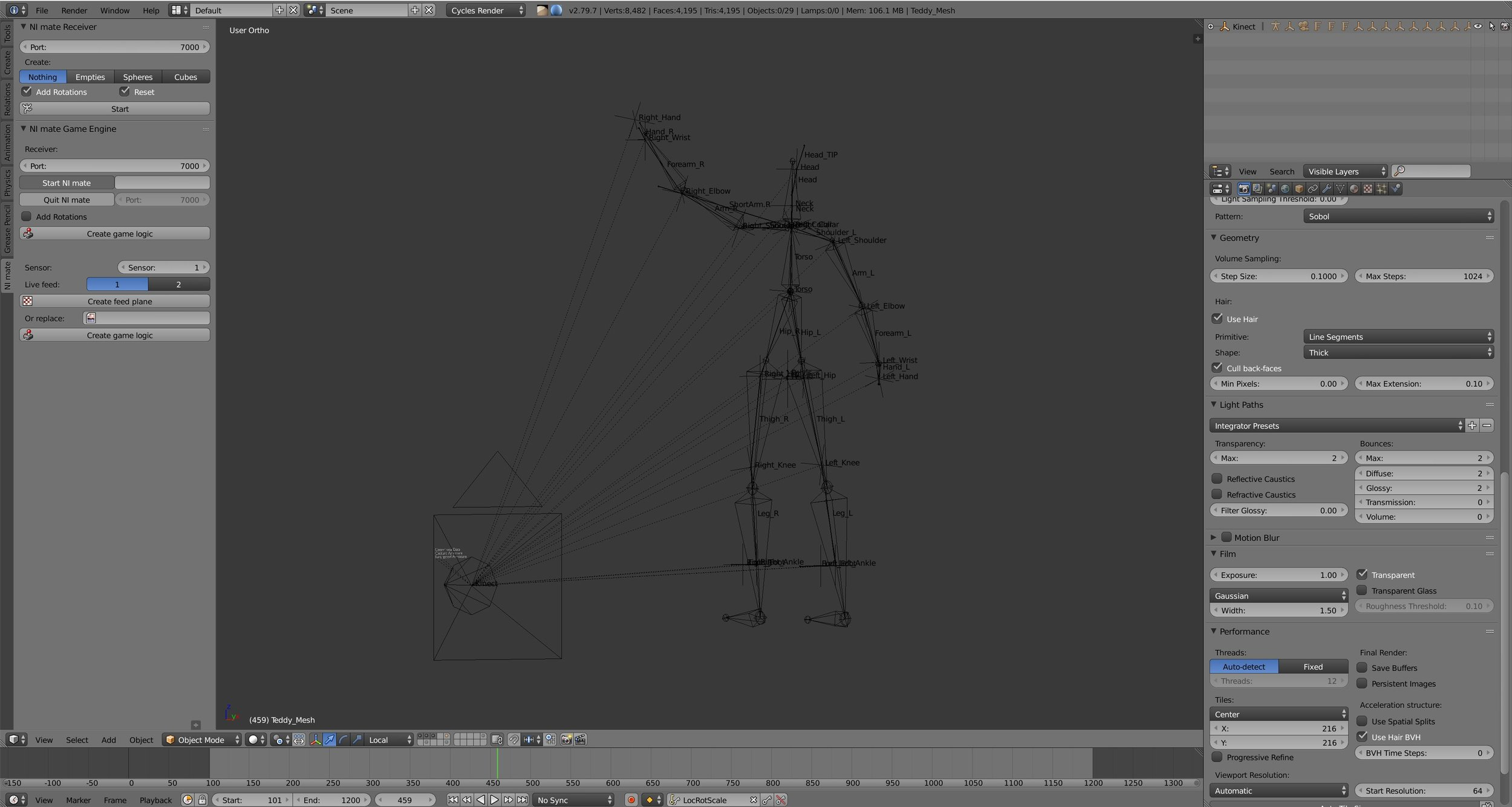 Blender with Motion Capture Plugin using Kinect (Nimate, plugin)