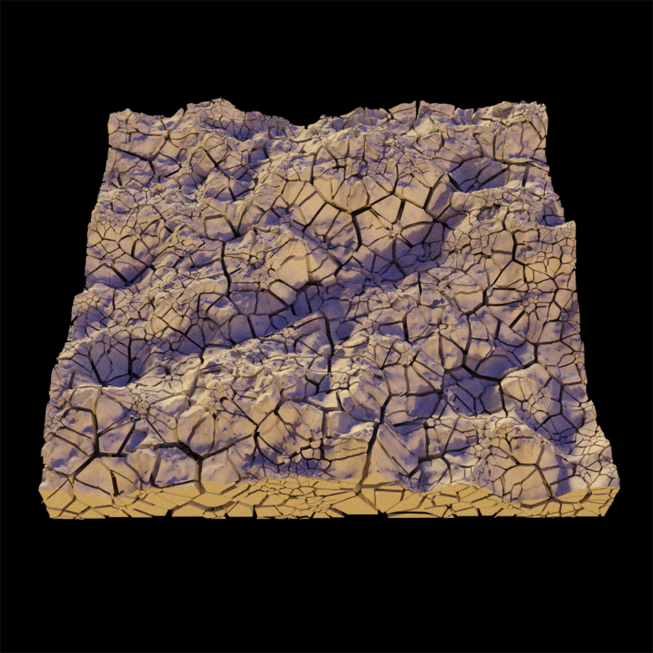 Terrain with Voronoi Fracturing applied after Height Field creation