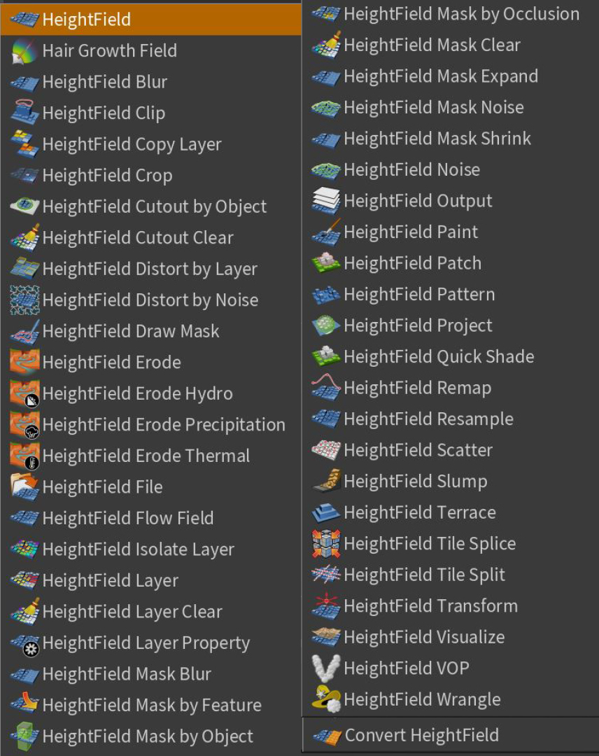 Full List of Height Field nodes in Houdini