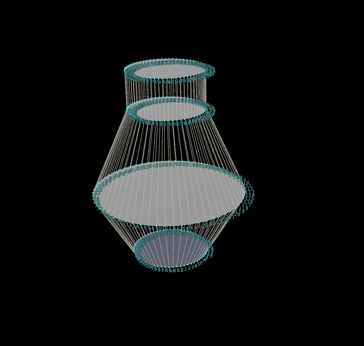 4 Circles making up the main shape of the bottle, 3D model (The first circle on the top is the 4th component, the extruded duplicate)
