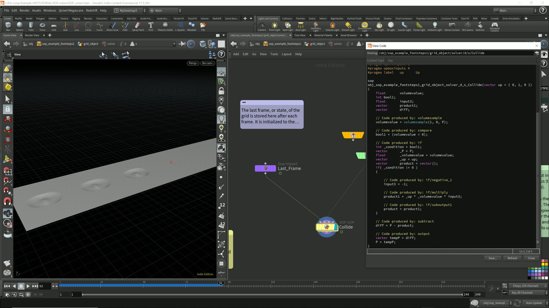 """CVEX code shown here from the """"Collide"""" node which is a VOP SOP node.  Screenshot taken from a Houdini Project demonstrating the SOP Solver."""