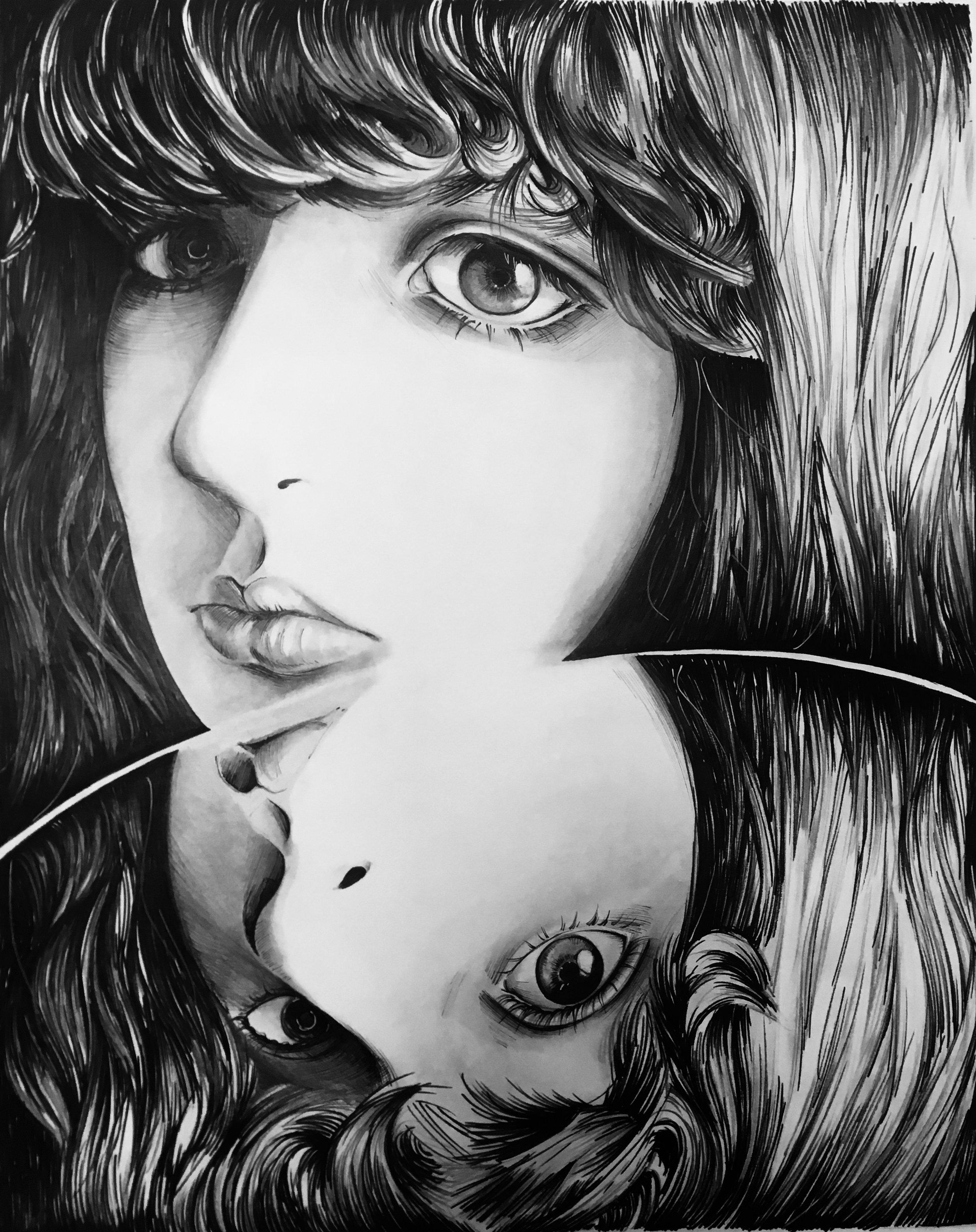 """Reflection"" Graphite, Ink"