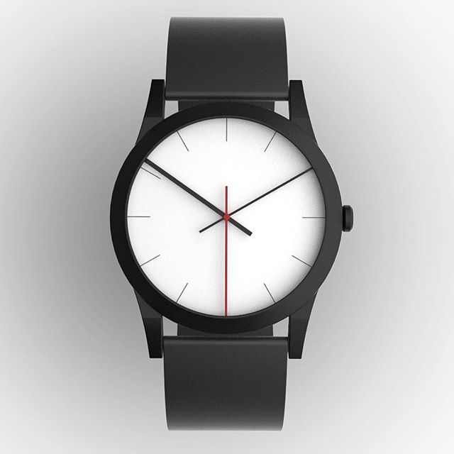 'Hideaway Watch' concept in black. Elongated hands extend under the edge of the bezel into a recess. Thicknesses and colours differentiate between the hour, minute and second hands. Powder coated body with silicone strap.⠀ ⠀ #designconcept #concept #timepiece #time #piece #watch #watches #hypebeast #matte #black #design #home #contemporary #instahome #product  #archiproducts #instadesign #officedesign #inspiration #deco #homedesign #minimal #minimalism #simple