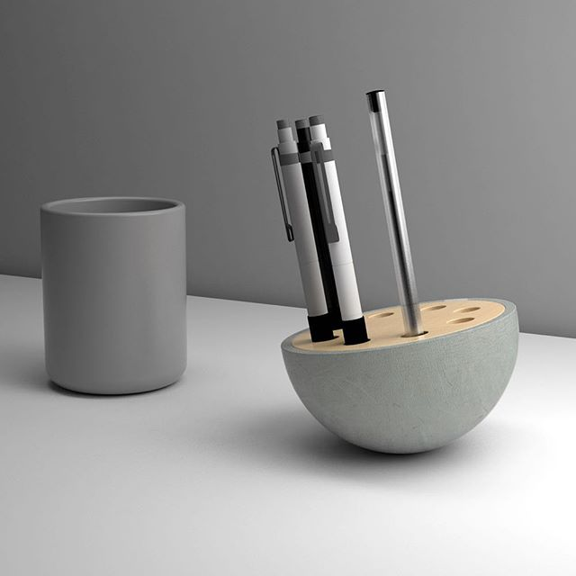 'Penny' the pen holder concept. Concrete base with Birch  insert. Different weighted pens or pencils will lean it one way or the other. Coming soon.⠀⠀ ⠀⠀ #concrete #birch #wood #furniture #office #homeoffice #pen #pencil #design #home #interior #contemporary #instahome #interiordesign #decor #archiproducts #instadesign #officedesign #inspiration #interiorlovers #interiores #deco #homedesign #minimal #minimalism