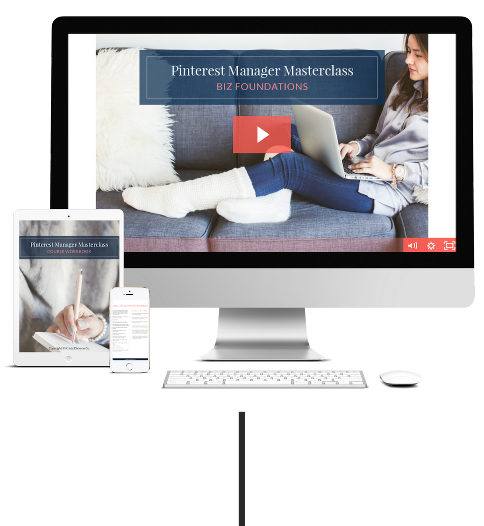Pinterest Manager Masterclass - The A-Z course that teaches brand new Pinterest Managers how to start, grow, and book out their freelance businesses. Because you deserve a life and career that's filled with fun, freedom, and flexibility.