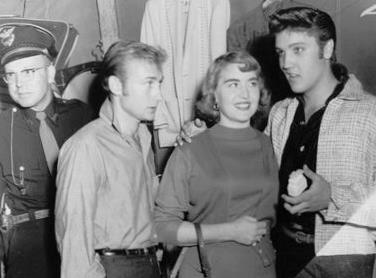 Nick Adams, a fan and Elvis in 1956.jpg
