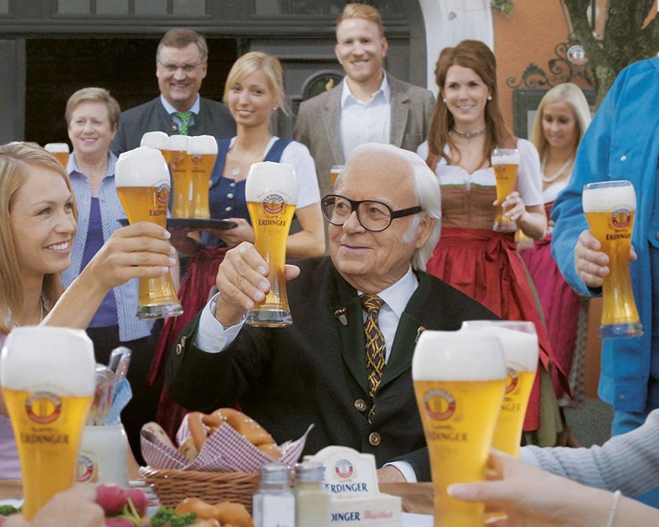 Brewery owner Werner Brombach calebrating 130 years of Erdinger.
