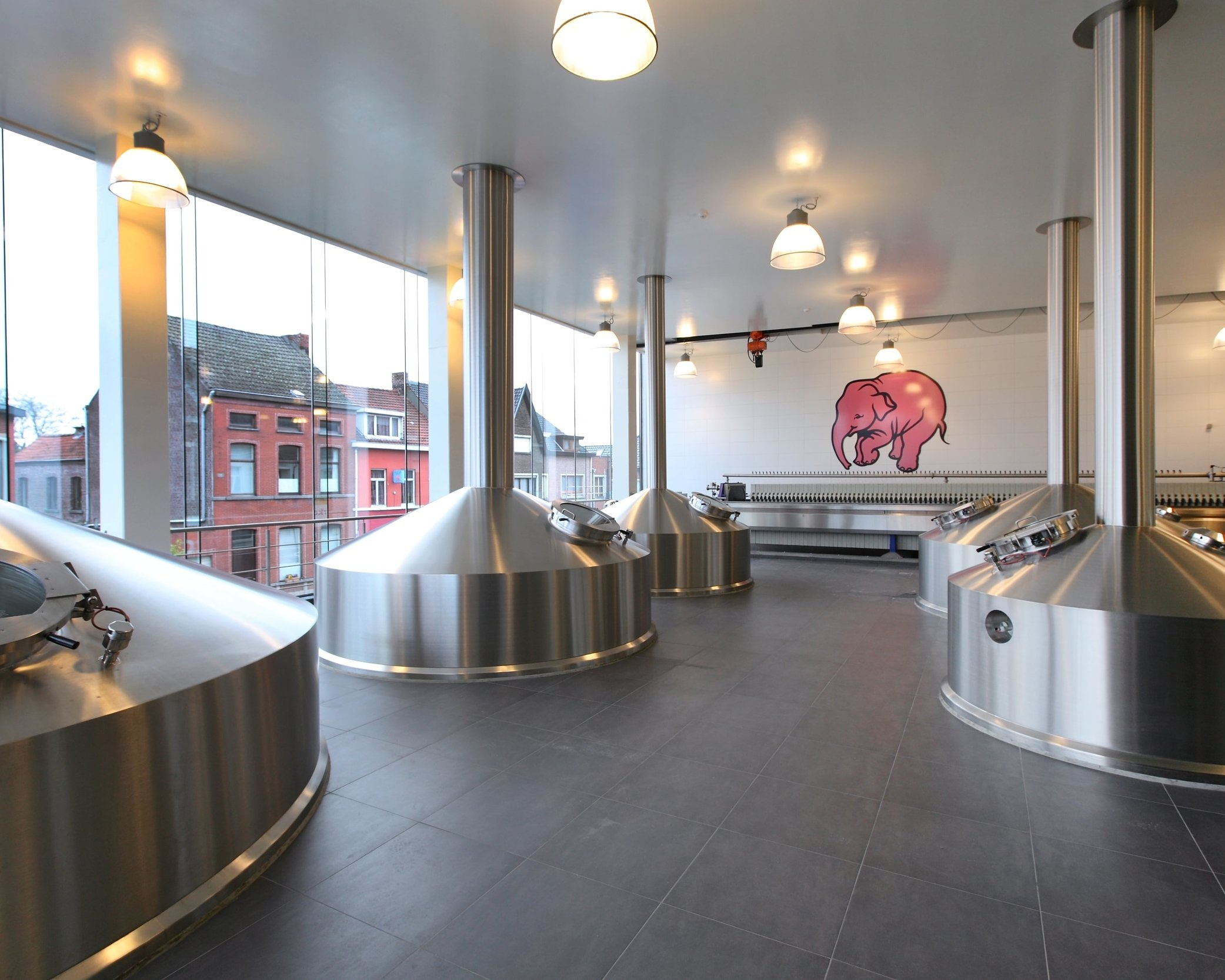 Interior at Huyghe brewery with state-of-the-art stainless steel brewing tanks