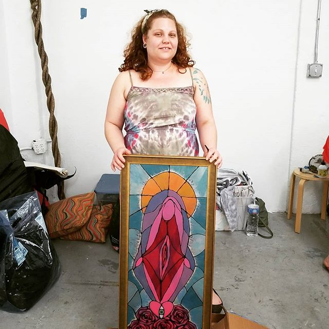 Our glass window panes have arrived @tigerthecreatrix #art #artgallery #community #events #miami #miamiart #miamievents #spacemountainmiami @gaystripperhealthspa Find out more about the Church of the Cosmic Cunt at www.thecosmiccc.com
