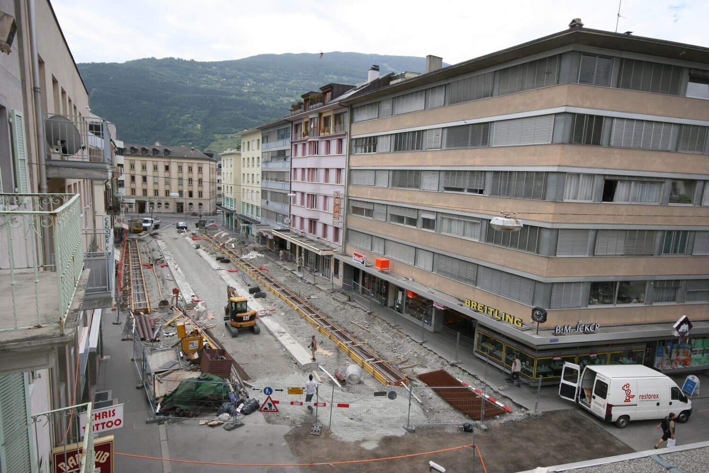 rue des Remparts pendant les travaux | Sion