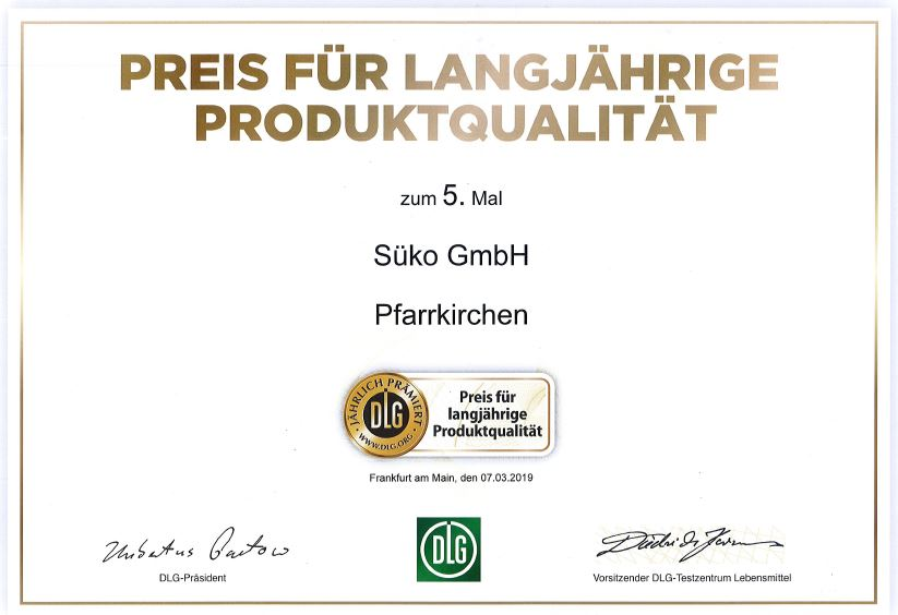 DLG Award for long-term product quality Süko