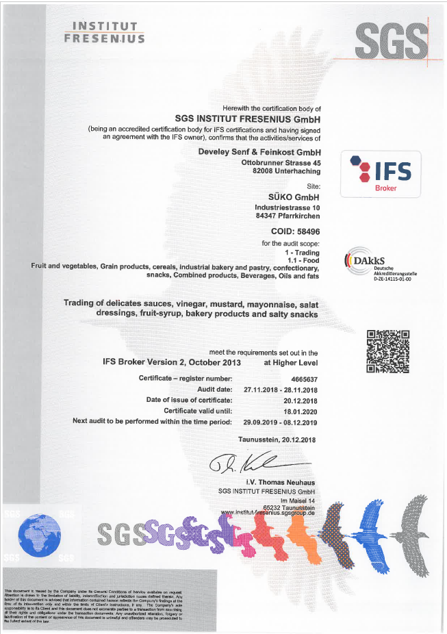 IFS International Food Standard Certificate Süko