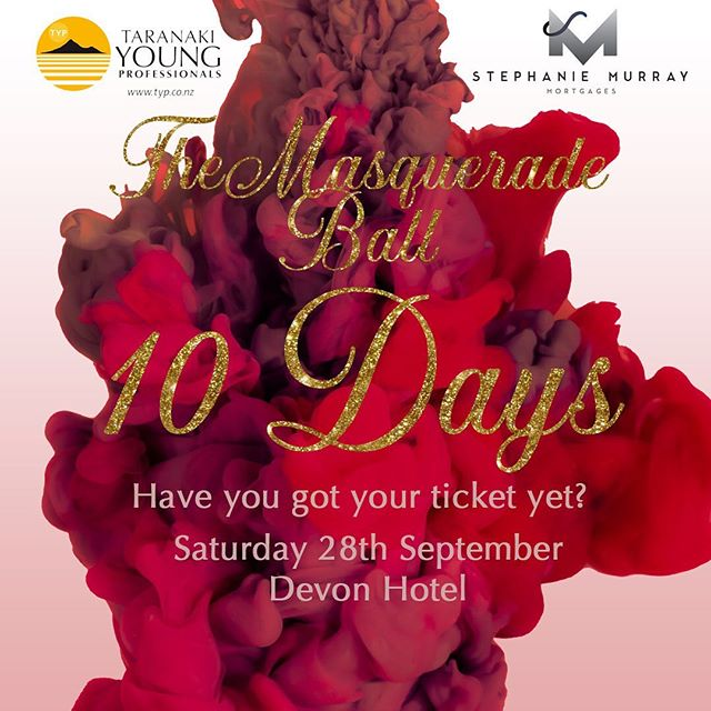 It's officially 10 days until the ball! We need final numbers by THIS SUNDAY. Don't miss out on what is going to be an incredible night ✨ Link in our bio for tickets - - - #taranakiyoungprofessionals #typ #taranaki #stephaniemurraymortgages #smm #typball #typball2019