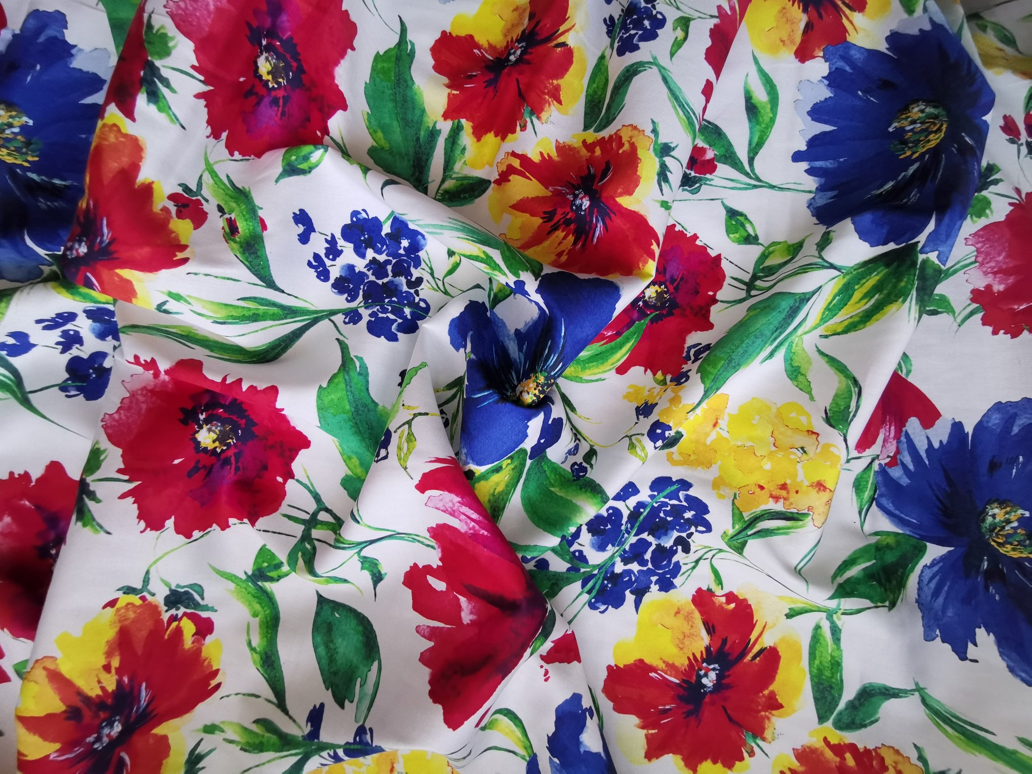 Large Floral Cotton Satin
