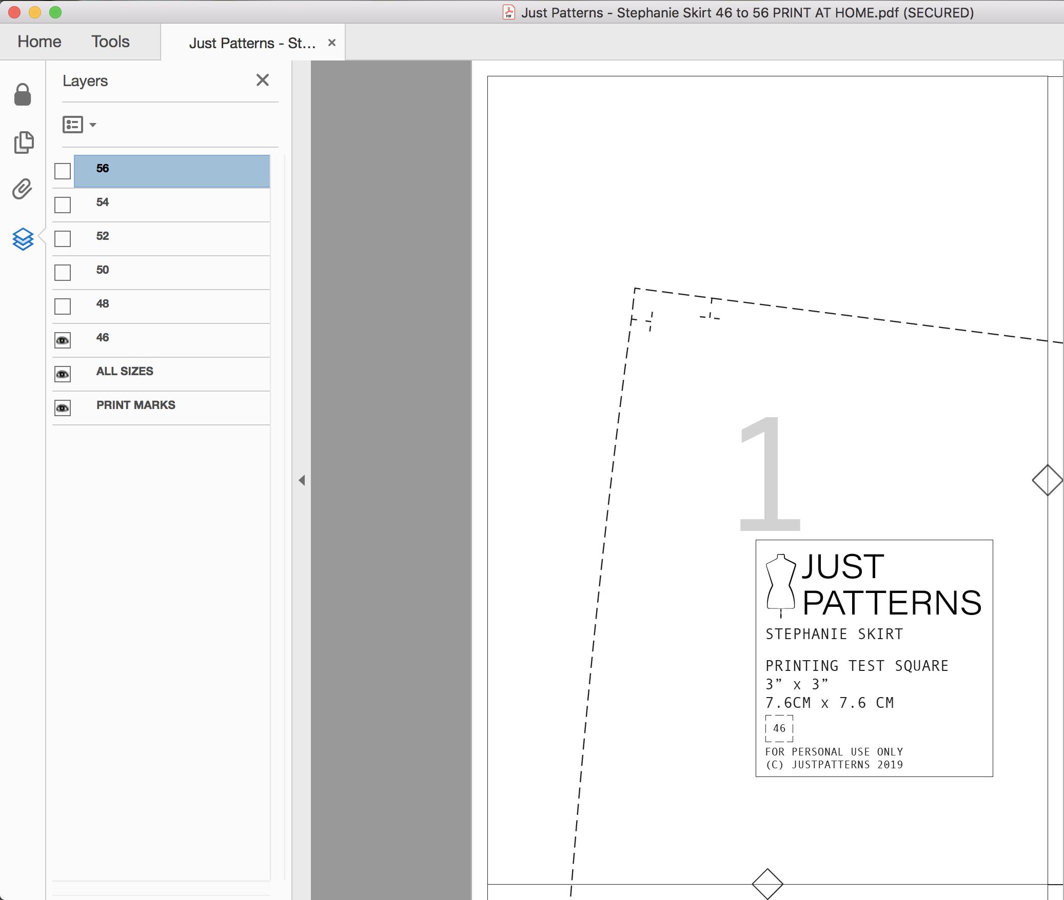 Print Layered PDF sewing pattern
