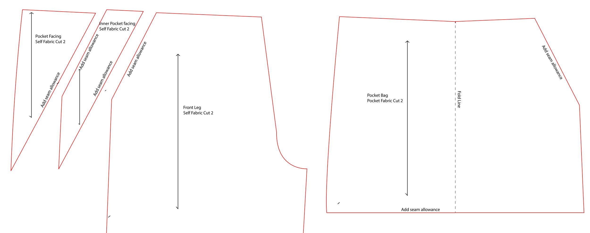 Burnside Bibs slant pockets pattern drafting hack