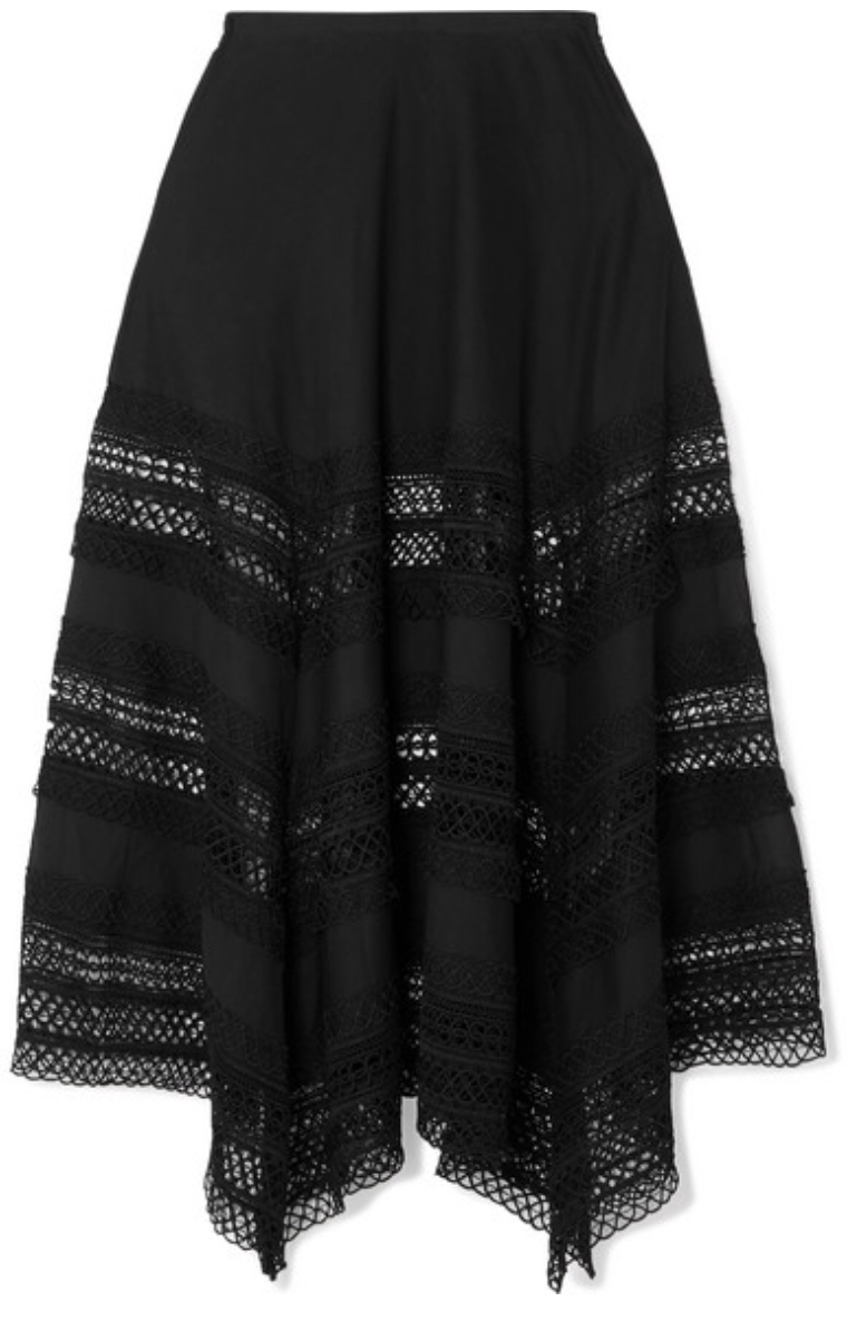 CHARO RUIZ  Benna crocheted lace-paneled cotton-voile maxi skirt