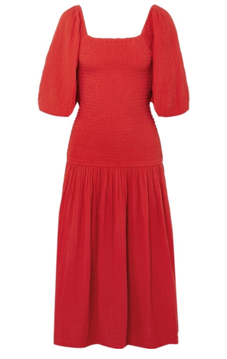 RHODE  Harper smocked cotton-gauze midi dress