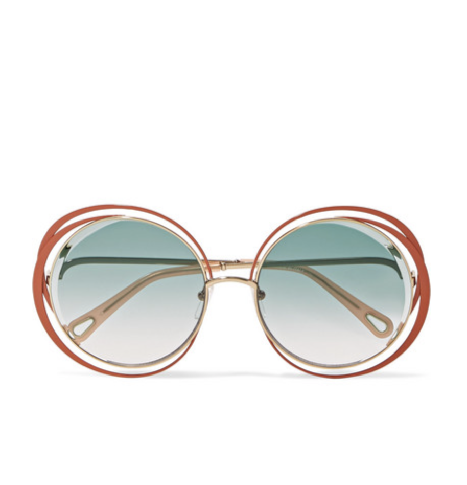 CHLOÉ Carlina oversized round-frame gold-tone sunglasses