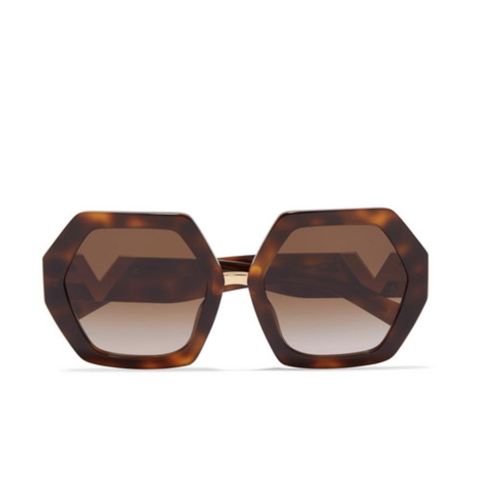 VALENTINO Valentino Garavani hexagon-frame tortoiseshell acetate sunglasses