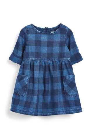NEXT Denim Check Pocket Dress